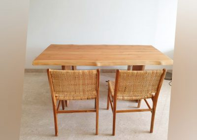 Live Edge Dining Table & Rattan Chairs