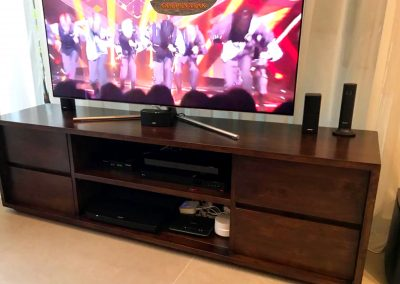 Dark Brown Stained TV Console